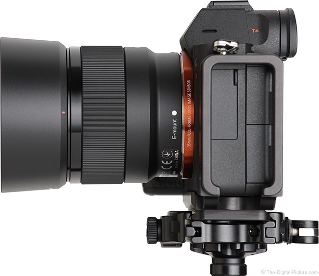 Sony FE 50mm f/1.8 Lens Side View with Hood