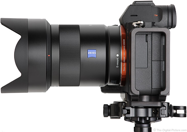 Sony FE 55mm f/1.8 ZA Lens Side View with Hood