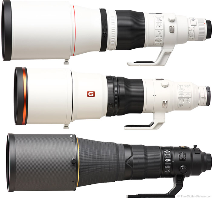 Sony FE 600mm f/4 GM OSS Lens Compared to Similar Lenses with Hoods