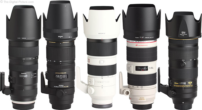 Sony FE 70-200mm f/2.8 GM OSS Lens Compared to Similar Lenses with Hoods