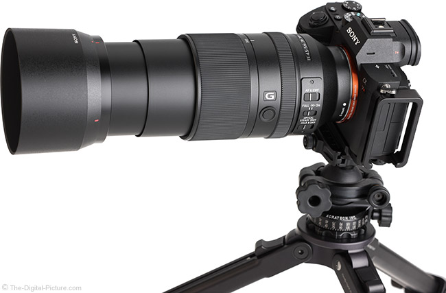 Sony FE 70-300mm f/4.5-5.6 G OSS Lens Angle View Extended with Hood