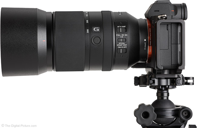 Sony FE 70-300mm f/4.5-5.6 G OSS Lens Side View with Hood