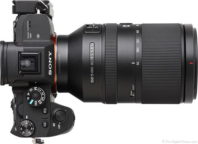 Sony FE 70-300mm f/4.5-5.6 G OSS Lens Top View