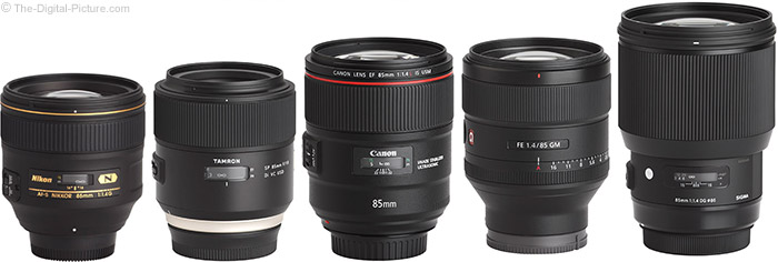 Sony FE 85mm f/1.4 GM Lens Compared to Similar Lenses
