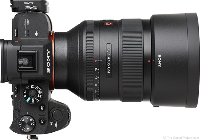 Sony FE 85mm f/1.4 GM Lens Top View with Hood
