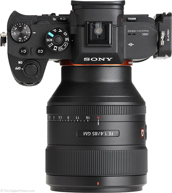 Sony FE 85mm f/1.4 GM Lens Top View