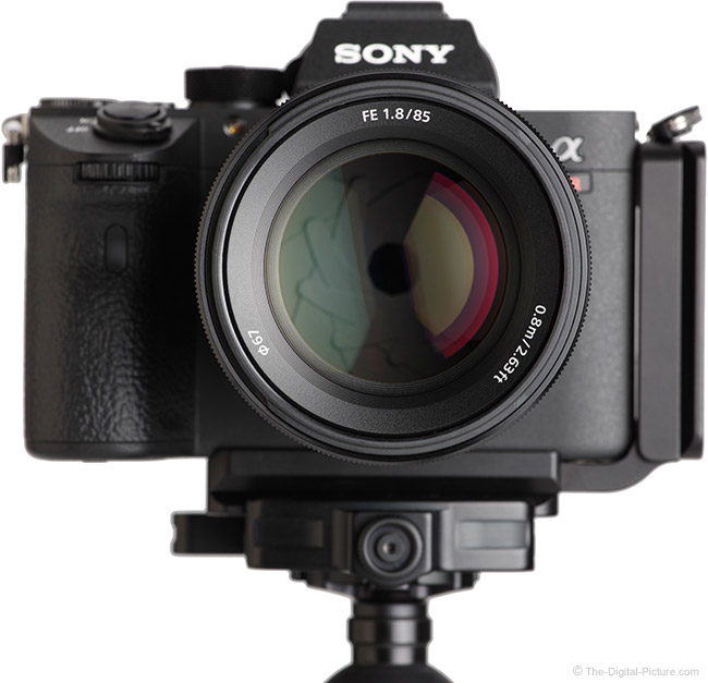 Sony FE 85mm f/1.8 Lens Front View on Camera