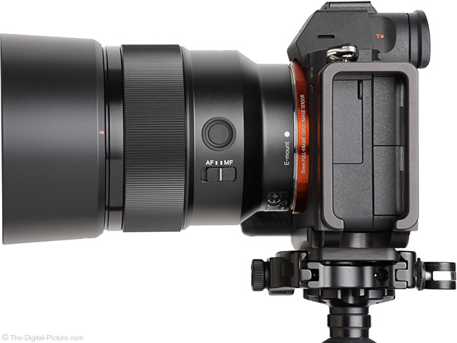 Sony FE 85mm f/1.8 Lens Side View with Hood