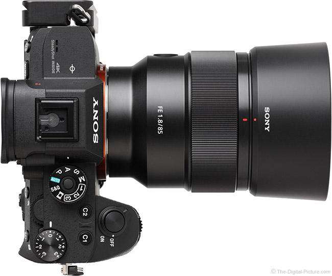 Sony FE 85mm f/1.8 Lens Top View with Hood