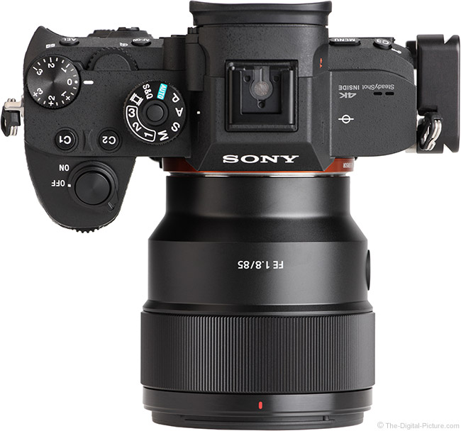 Sony FE 85mm f/1.8 Lens Top View
