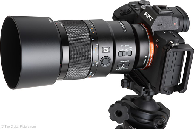 Sony FE 90mm f/2.8 Macro G OSS Lens Angle View with Hood