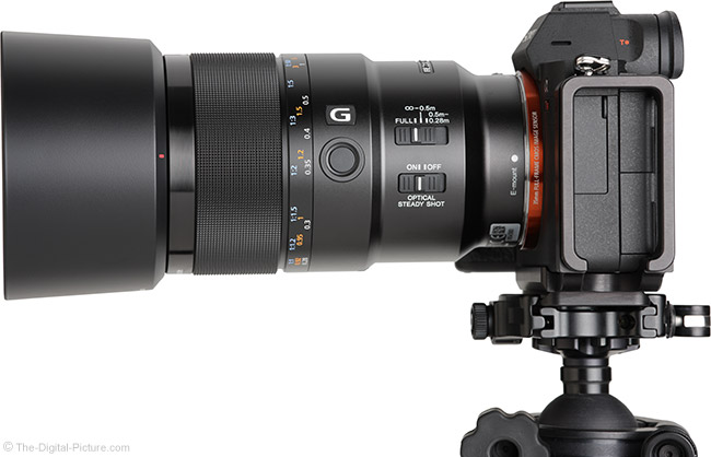 Sony FE 90mm f/2.8 Macro G OSS Lens Side View with Hood