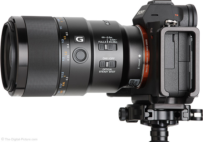 Sony FE 90mm f/2.8 Macro G OSS Lens Side View