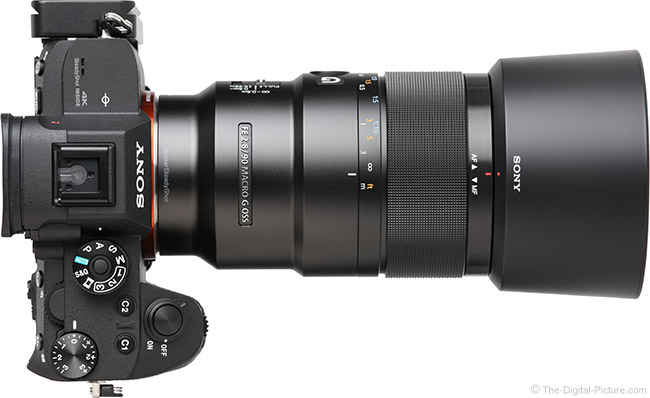 Sony FE 90mm f/2.8 Macro G OSS Lens Top View with Hood