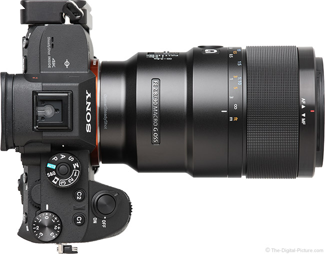 Sony FE 90mm f/2.8 Macro G OSS Lens Top View