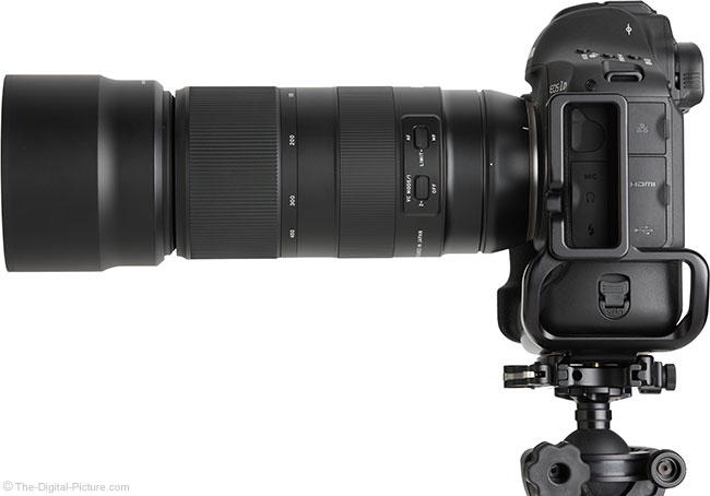 Tamron 100-400mm f/4.5-6.3 Di VC USD Lens Side View with Hood