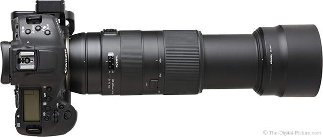 Tamron 100-400mm f/4.5-6.3 Di VC USD Lens Extended Top View with Hood