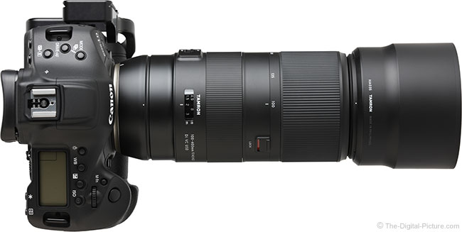 Tamron 100-400mm f/4.5-6.3 Di VC USD Lens Top View with Hood