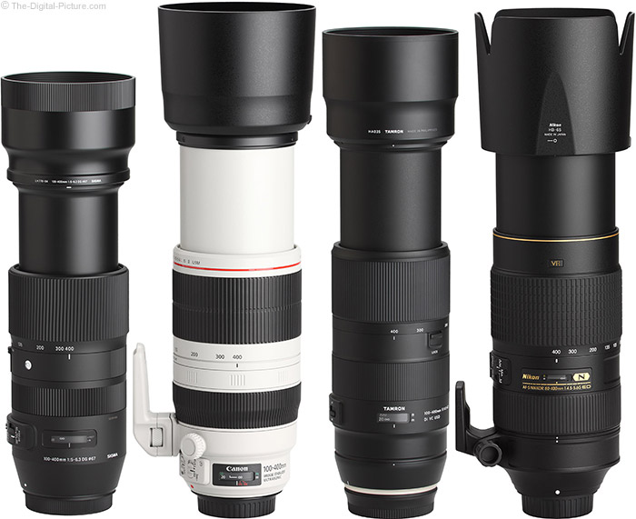 Tamron 100-400mm f/4.5-6.3 Di VC USD Lens Compared to Similar Lenses with Hoods