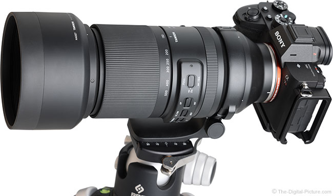 Tamron 150-500mm f/5-6.7 Di III VC VXD Lens Angle View with Hood