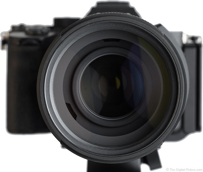 Tamron 150-500mm f/5-6.7 Di III VC VXD Lens Front View on Camera