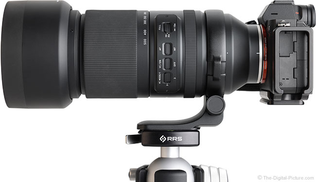 Tamron 150-500mm f/5-6.7 Di III VC VXD Lens Side View with Hood