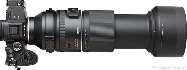 Tamron 150-500mm f/5-6.7 Di III VC VXD Lens Extended Top View with Hood