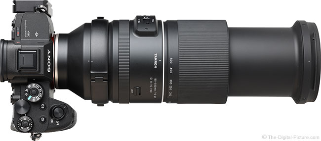Tamron 150-500mm f/5-6.7 Di III VC VXD Lens Extended Top View