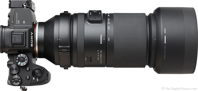 Tamron 150-500mm f/5-6.7 Di III VC VXD Lens Top View with Hood