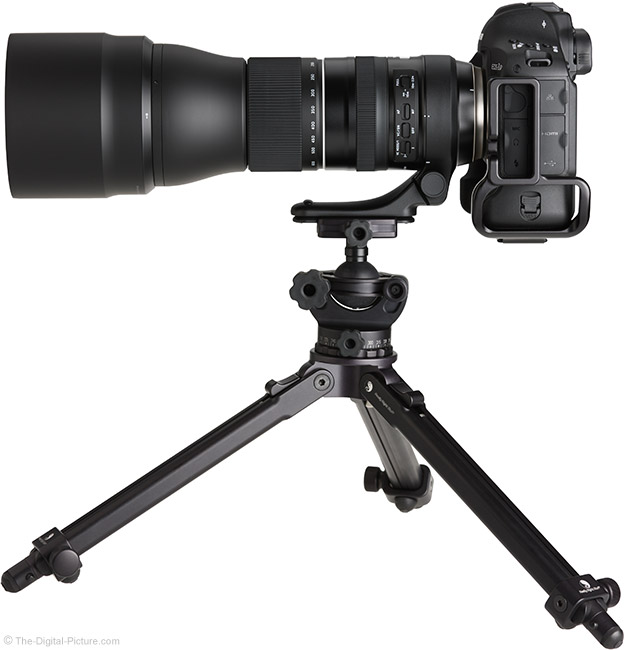 Tamron 150-600mm f/5-6.3 Di VC USD G2 Lens Side with Hood on Tripod