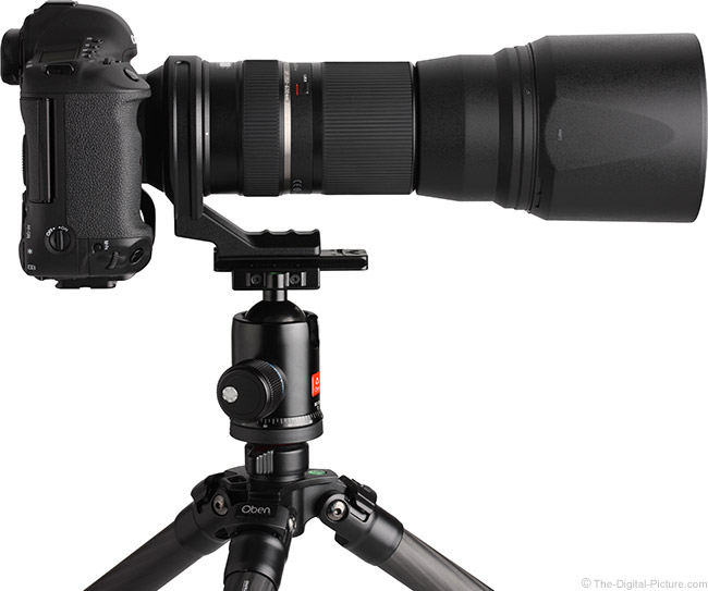 Tamron 150-600mm VC Lens on Ball Head with Hood