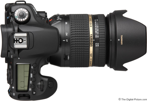 Tamron 17-50mm f/2.8 XR Di II VC Lens on Canon EOS 60D - Top View with Hood