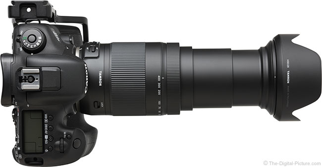 Tamron 18-400mm f/3.5-6.3 Di II VC HLD Lens Extended Top View with Hood