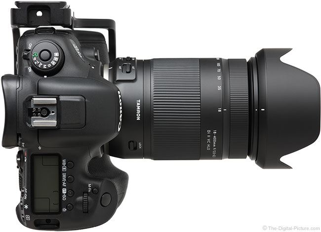 Tamron 18-400mm f/3.5-6.3 Di II VC HLD Lens Top View with Hood