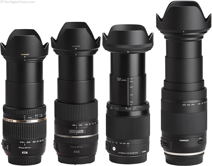 Tamron 18-400mm f/3.5-6.3 Di II VC HLD Lens Compared to Similar Lenses with Hoods