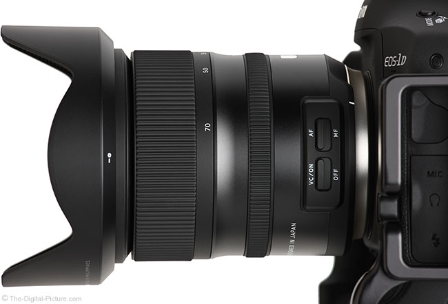 Tamron 24-70mm f/2.8 VC G2 Lens Side View with Hood