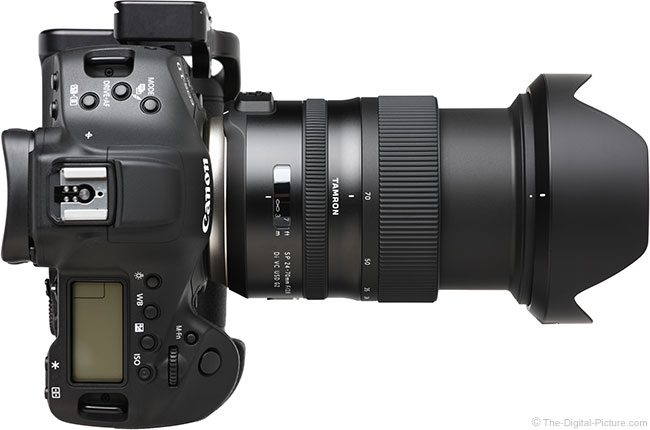 Tamron 24-70mm f/2.8 VC G2 Lens Extended Top View with Hood
