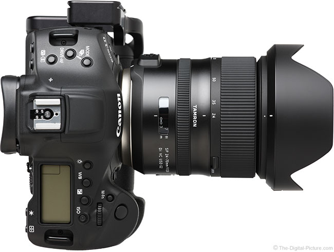 Tamron 24-70mm f/2.8 VC G2 Lens Top View with Hood