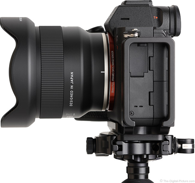 Tamron 24mm f/2.8 Di III OSD M1:2 Lens Side View with Hood