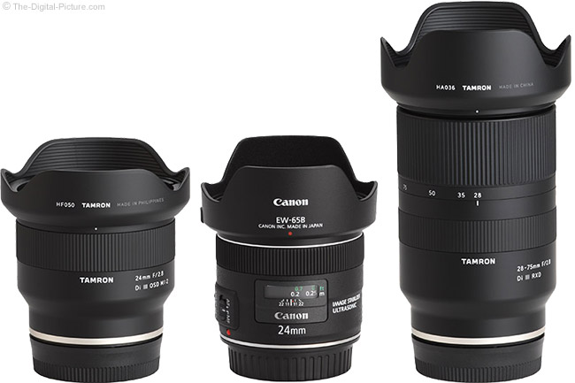 Tamron 24mm f/2.8 Di III OSD M1:2 Lens Compared to Similar Lenses with Hoods