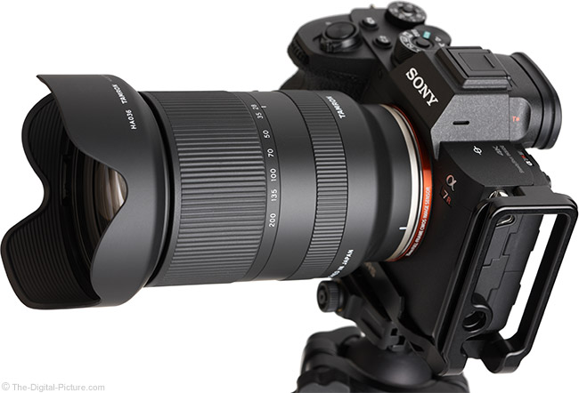 Tamron 28-200mm f/2.8-5.6 Di III RXD Lens Angle View with Hood