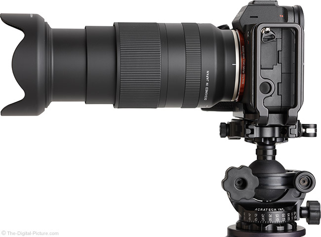 Tamron 28-200mm f/2.8-5.6 Di III RXD Lens Side View with Hood