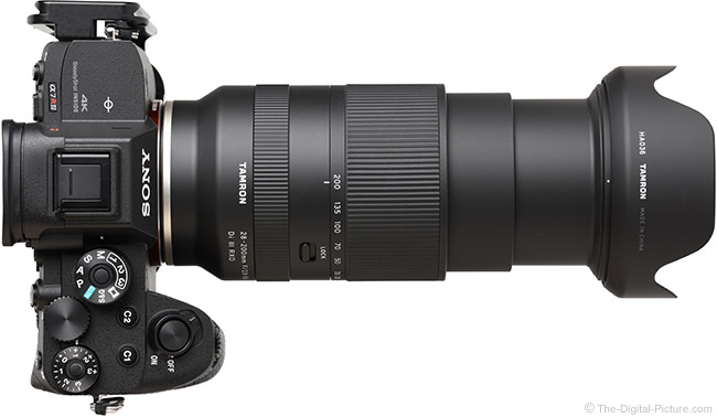 Tamron 28-200mm f/2.8-5.6 Di III RXD Lens Extended Top View with Hood