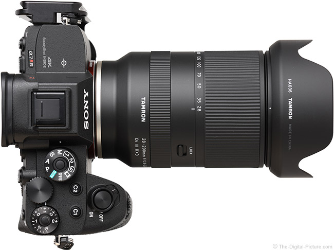 Tamron 28-200mm f/2.8-5.6 Di III RXD Lens Top View with Hood