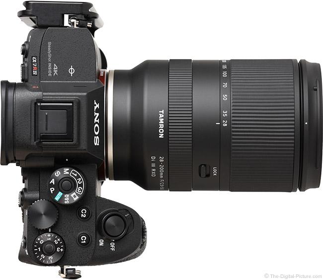 Tamron 28-200mm f/2.8-5.6 Di III RXD Lens Top View