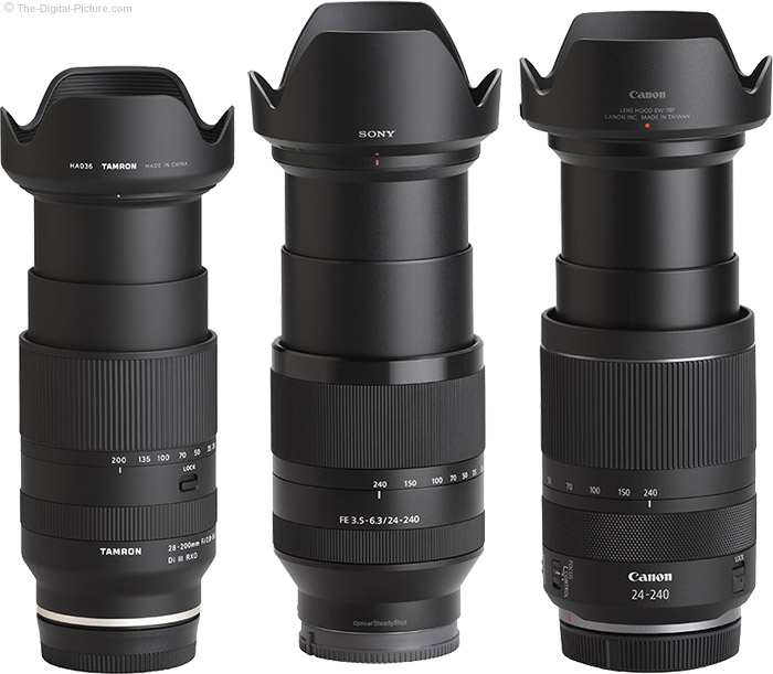 Tamron 28-200mm f/2.8-5.6 Di III RXD Lens Compared to Similar Lenses with Hoods