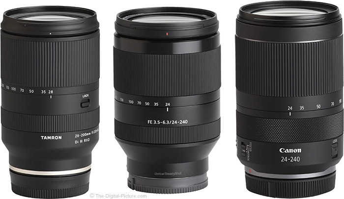 Tamron 28-200mm f/2.8-5.6 Di III RXD Lens Compared to Similar Lenses