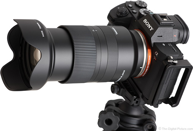 Tamron 28-75mm f/2.8 Di III RXD Lens Angle View Extended with Hood