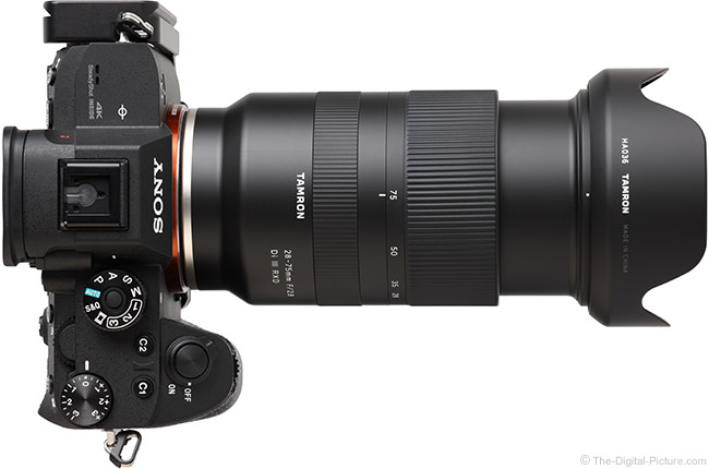 Tamron 28-75mm f/2.8 Di III RXD Lens Extended Top View with Hood