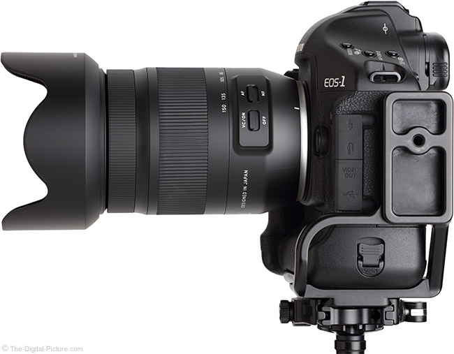 Tamron 35-150mm f/2.8-4 Di VC OSD Lens Side View with Hood